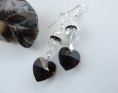 Black Swarovski Crystal Heart Earrings, Gothic Jewelry, Heart Earrings, Valentines Jewelry. A305