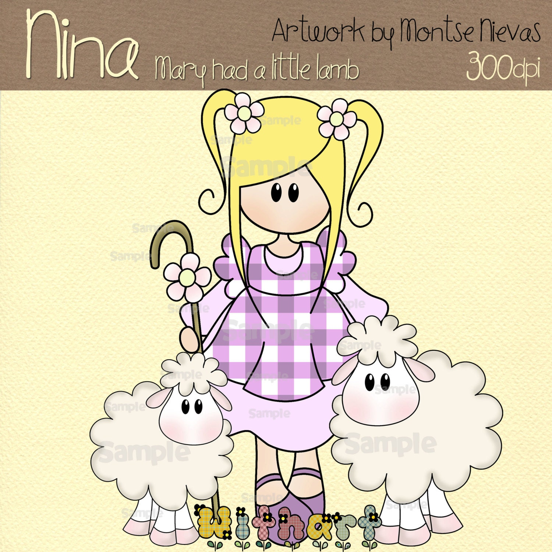 Mary had a little lamb Nina dolls 0247 clip art set images