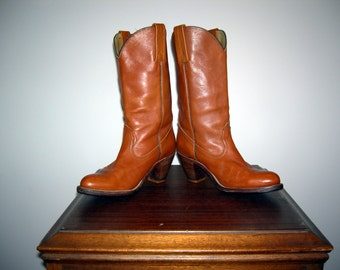 Vintage 70s 80s FRYE Rare Brown Leather Stacked Heel Cowboy Campus Boho Hippie Western Rockabilly Boots Made in USA