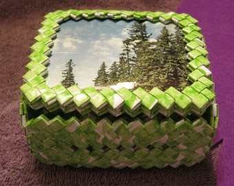 WHITE and LIME Green TINKET Box with Trees