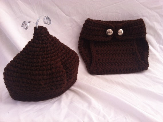 Crochet Baby Hershey Kiss Hat Pattern : Newborn Baby Crochet Hershey Kiss Hat and Diaper Cover Photo