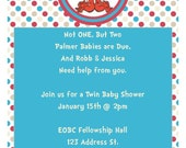 thing 1 thing 2 baby shower invitation great for twins or multiples