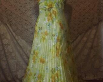 Flowers for Alice Vintage Halter Dress Summer Yellow Flower Power Hippie Girl