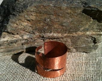 Hand Hammered Copper Wrap Around Bracelet Cuff