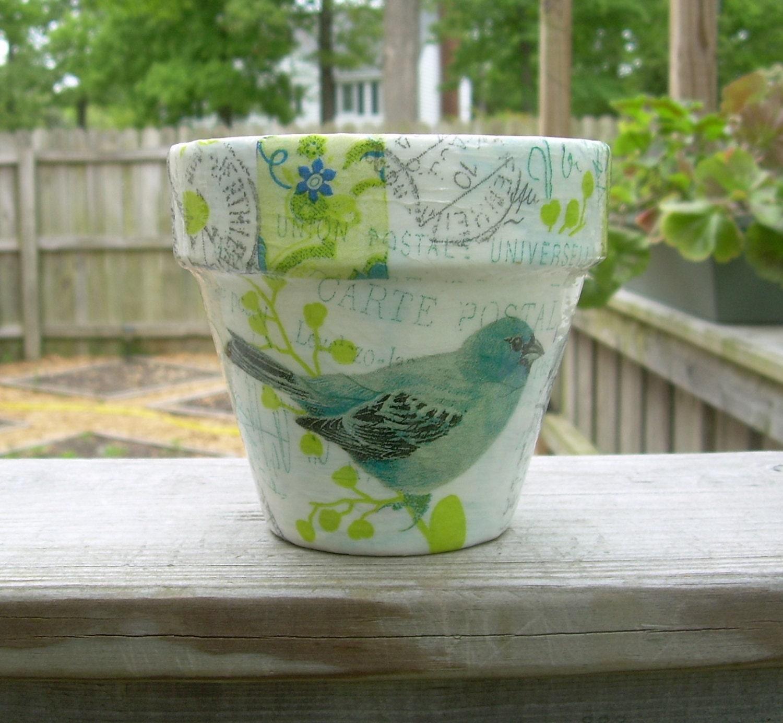 Handmade Decoupage Terra Cotta Clay Flower Pot Bird Collage