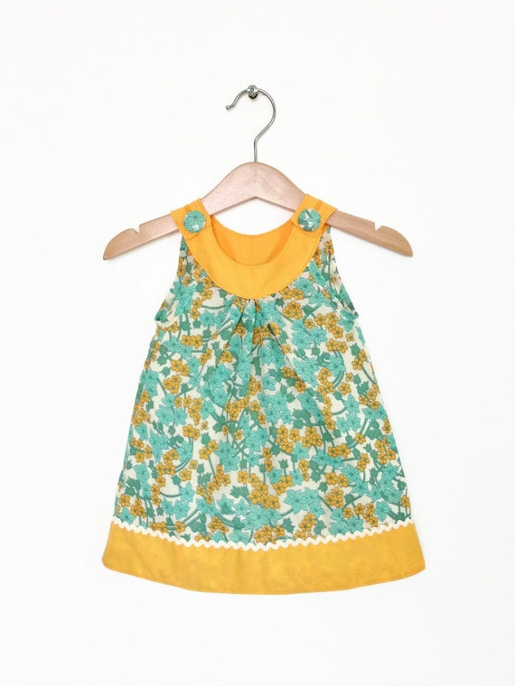 sale baby dress 6 to 12 months zingy orange and turquoise
