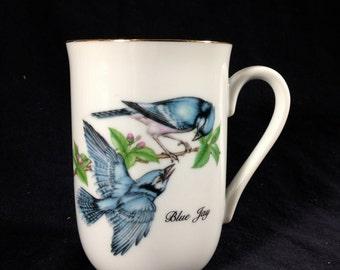 Vintage John James Audubon Porcelain Blue Jay Mug 1985