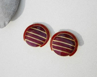 Vintage earrings abstract earrings sienna and gold metal 1980s big bold clip on