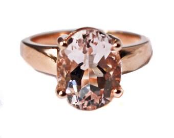 Beautiful Large Morganite 14K Rose Gold Ring