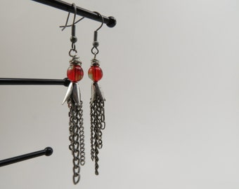 Red Wire Wrapped Tassle Earrings - READY TO SHIP - Red Dangle Earrings - Simple and Classic Everyday Earrings