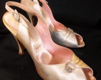 Vintage Saks Fifth Avenue satin sling back open toe rhinestone pumps high heels size 5