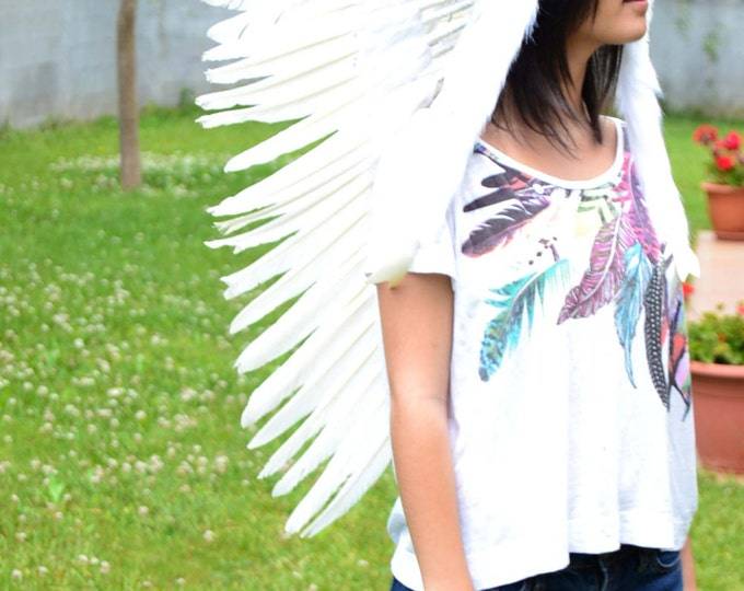 N81 - Medium Indian  White  Feather Headdress (36 inch long)
