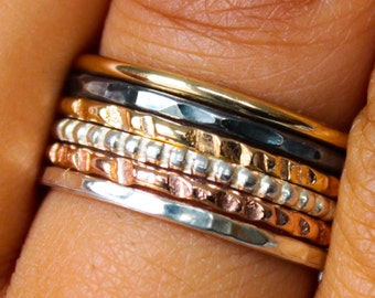 Mixed Metals Ring Set Hammered Polished Beaded Gold Sterling Silver Stack Rings
