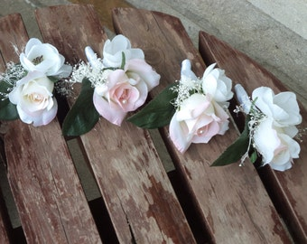Blush Pink and White Silk Boutonniere for Weddings or Proms / Wedding Boutonniere / Prom Boutonniere / Prom Flowers / Silk Wedding Flowers