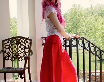 Coral Pink Ombre Palazzo Pants Dance Costume Wide Legged by OmBeautiful