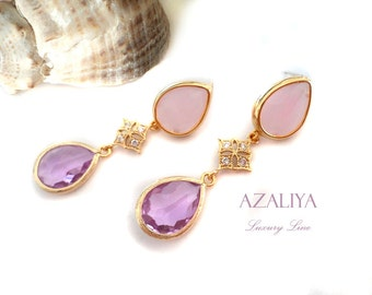 Zirconia Star Princess Chandeliers. Pink Jade & Purple Crystal Drops with Cubic Zirconia Stars. Azaliya Luxury Line. Bridal, Prom Jewelry.