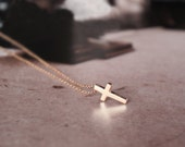 Cross necklace - Christian cross, dainty necklace, rose gold necklace, hypo allergic for sensitive skin, simple modern necklace, RFW