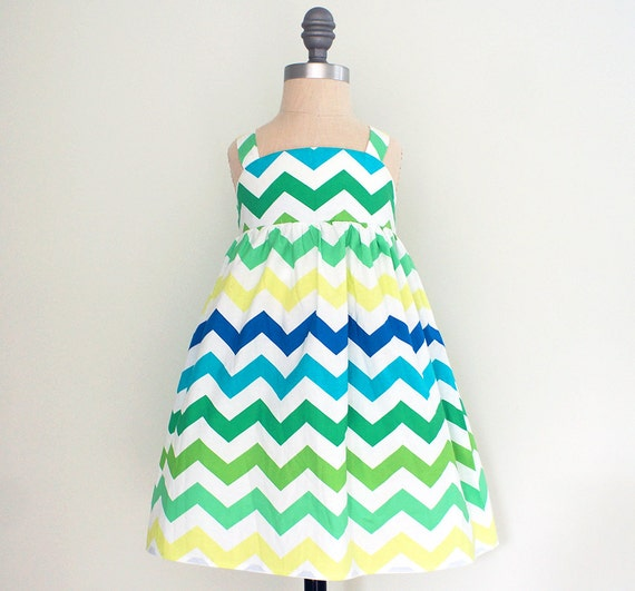 Chevron Stripe Girls Summer Dress Toddler Girls Boutique - Etsy