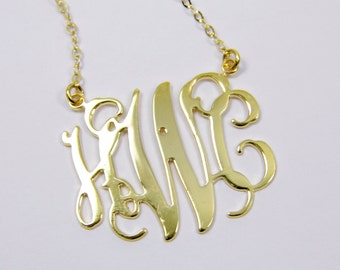 "Personalized Monogram 1"" Initial Necklace - Sterling silver 925 Plated 18k gold. anniversary gift, gift for her"