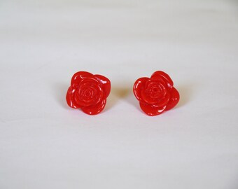 Silver Plated Red Rose Earring