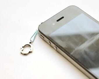 Hamsa iPhone Earphone Plug, Dust Plug - silver Hamsa charm with blue cord. Cellphone Accessories, phone decoration, Judaica lucky charm