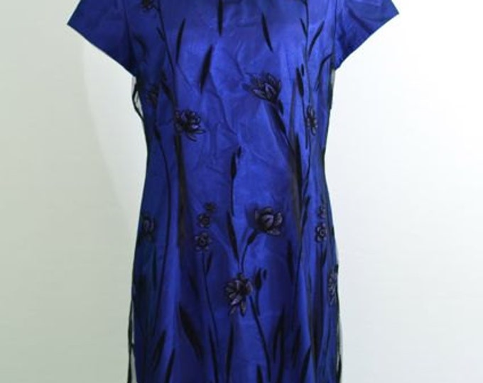 1980s silk dress - great gatsby - flapper style - satin with black tulle overlay with beaded floral accents