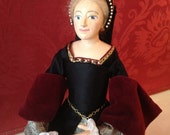 Tudor-Style Doll Wearing Black Henrician Lady's Gown, c. 1530-1560