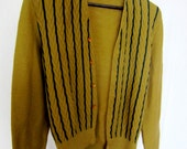 Vintage Chartreuse and Hunter Green Striped Cardigan