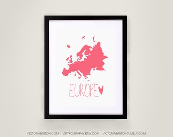 Europe Map - 8x10, 11x17 typography print, inspirational, travel, dorm decor, italy, france, spain, london, paris, rome, czech republic