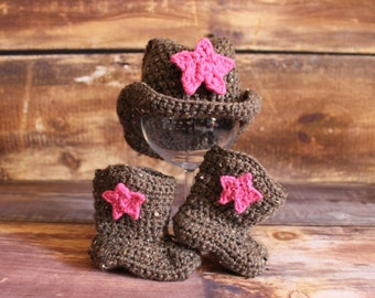 Cowgirl Hat and Boots with Removable Stars - baby cowboy hat knit cowboy hat cowboy boots child toddler infant newborn brown pink