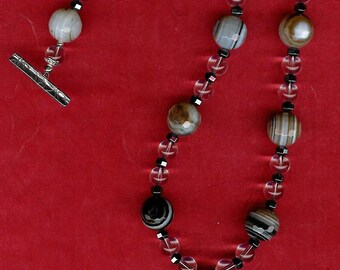 Can Love be Just Black and White -  Striated Agate, Rock Quartz, Hematite, Sterling Silver Necklace