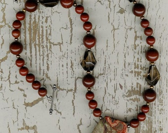 Oh What a Tanngled - Spiderweb Agate, Jasper, Smoky Quartz, Freshwater Pearls, Sterling Silver Necklace