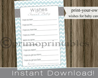 Baby Well Wishes cards,  boy light blue chevron , INSTANT DOWNLOAD , diy printable digital file , print your own , babyshower