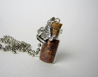 Red Tea 1ml Glass Vial Necklace - Glass Bottle Pendant - Rooibos Cork Bottle Pendant