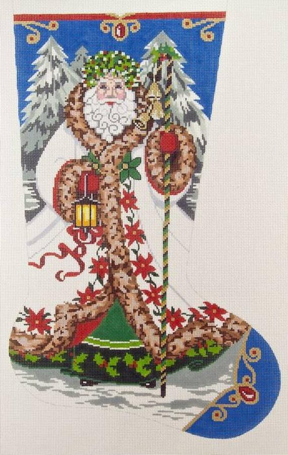 Needlepoint Hand Painted Canvas Lee Christmas Stocking Elegant