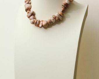 Chunky Red Line Marble Nugget Beaded Necklace