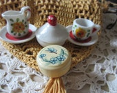 SALE: Miniature Doll House Accessories - Pitcher, Cup, Saucers, Bowl - Cotton Holder, Dollhouse Accessories, Collectibles, Doll, Christmas