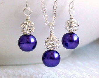 Bridesmaid Gift Jewelry Set Dark Purple Necklace Earrings Bridesmaid Gift Rhinestone Jewelry Wedding Party Purple Jewelry