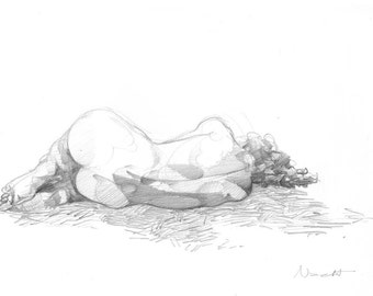Woman asleep - Drawing from Anatomy of loneliness series - ORIGINAL