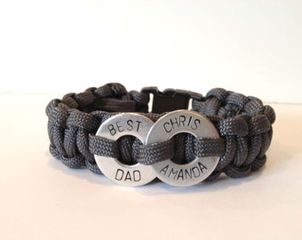 FEATURED on DISNEY BABY Blog: Personalized Father's Day Two Washer Paracord Macrame Bracelet - Birthday Dad, Best Dad, Father's Day, My Hero