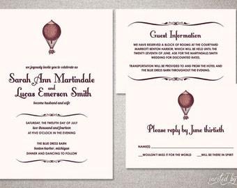 "Whimsical Hot Air Balloon ""Sarah"" Custom Wedding Invitation Suite - Vintage Shabby Chic Invitations - Digital Printable or Printed Invite"
