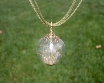 Wish necklace gift Dandelion necklace Terrarium necklace Terrarium jewelry  Mini terrarium Real seeds necklace  Wish necklace Gift for her
