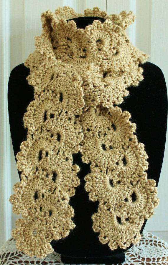 Beautiful Beige Queen Annes Lace Handmade Crochet Scarf