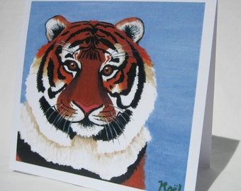 Tiger Greeting Card - print from original painting , blank card