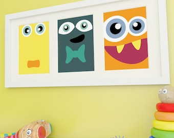 Monster Art, Kids Wall Art, Monster Prints, Childrens Wall Art, Childrens Room Decor,  Monster Faces