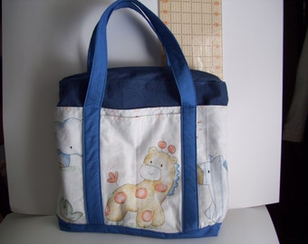 Baby Jungle print All Cotton, Zippered, Diaper/Tote Bag