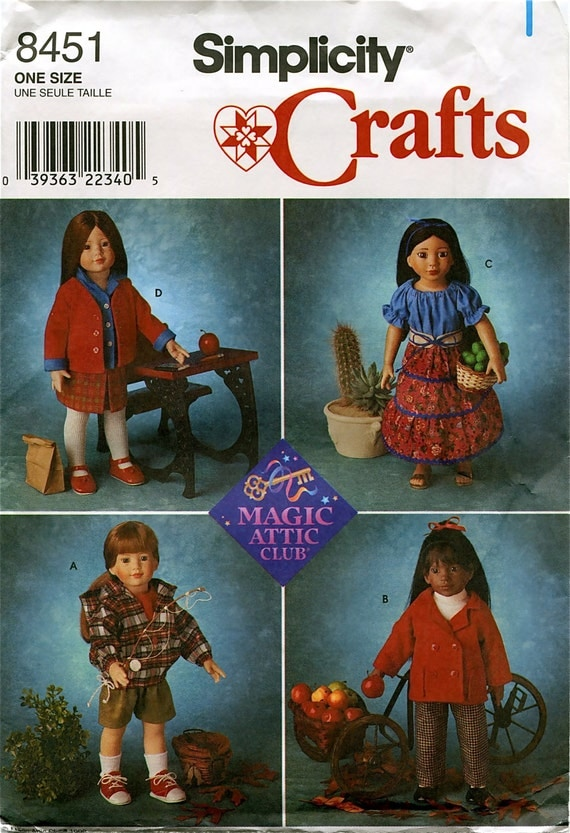 Simplicity 8451 Magic Attic Club Doll Clothes Sewing Pattern