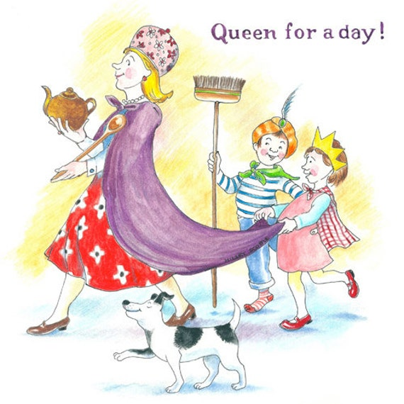 items similar to queen for a day greeting card perfect for mother 39 s day or birthday on etsy. Black Bedroom Furniture Sets. Home Design Ideas