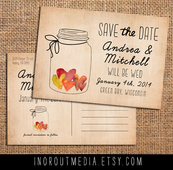 Watercolor Save the Date, Rustic Save the Date card - Jar of Hearts - Save the Date postcard, mason jar, romantic, eco friendly, mason jar