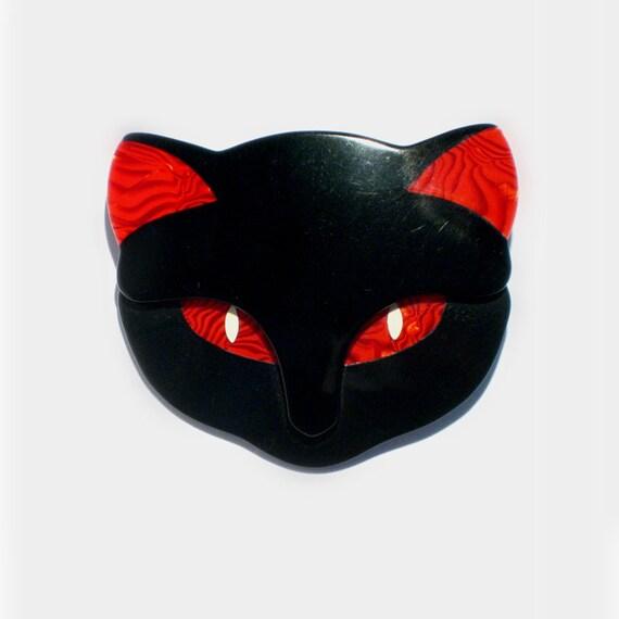 Lea Stein // French Brooch // Vintage Cat Brooch // Black Cat Pin / 1980s